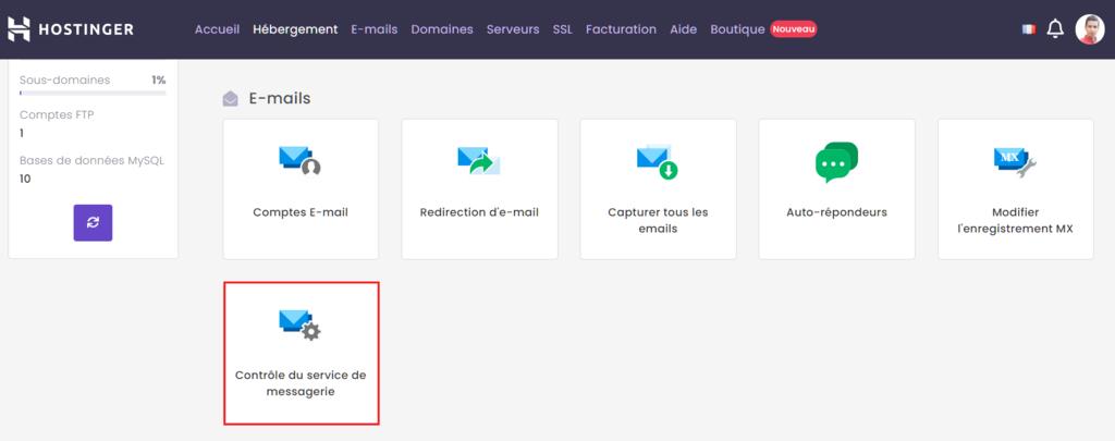 Utilisation de l'option Contrôle du service de messagerie sur hPanel.
