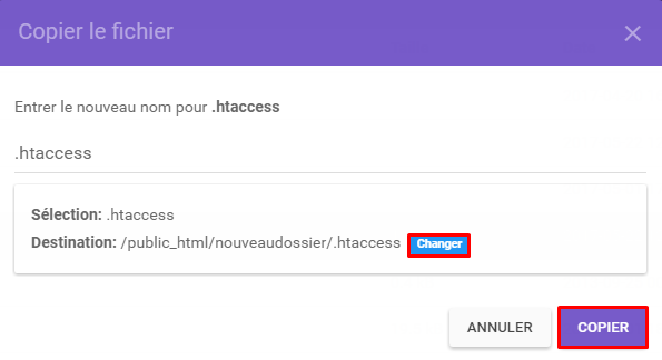 copier fichier hostinger