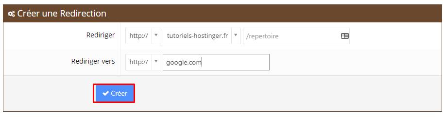 creer redirections hostinger