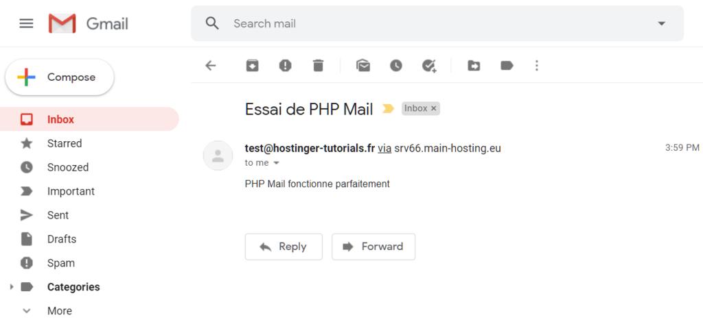 La boîte de réception de votre destinataire recevant l'email de test.