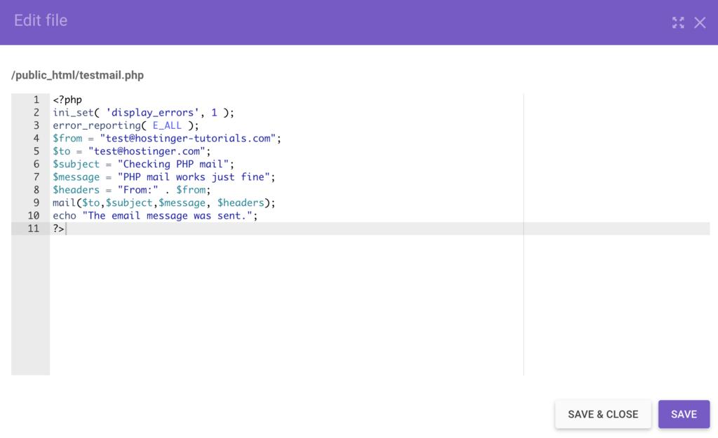 Exemple des composants de base de la messagerie PHP mail.