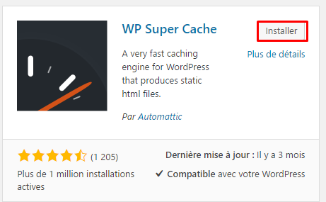 installer wp super cache wordpress