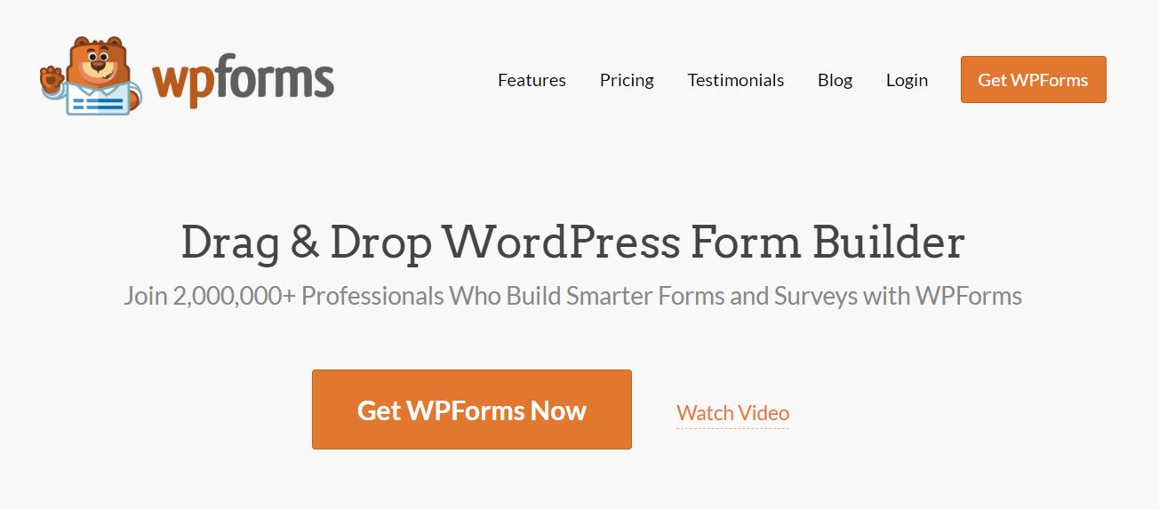 Page d'accueil de WP Forms.
