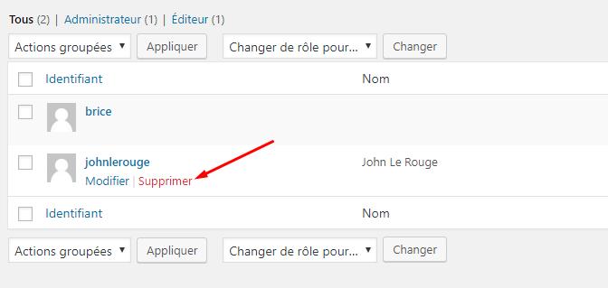 supprimer utilisateur wordpress