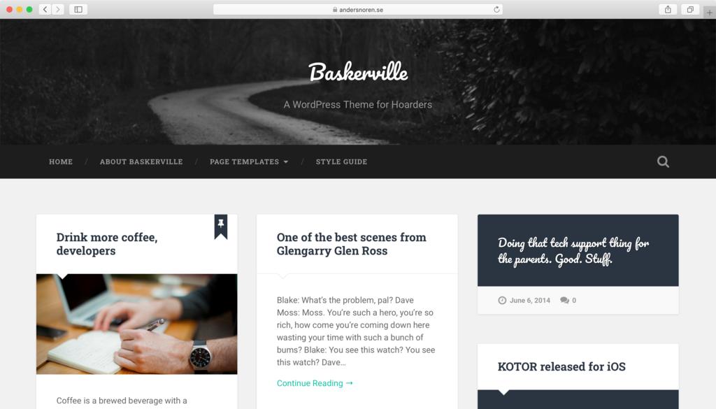 Thème WordPress Baskerville.