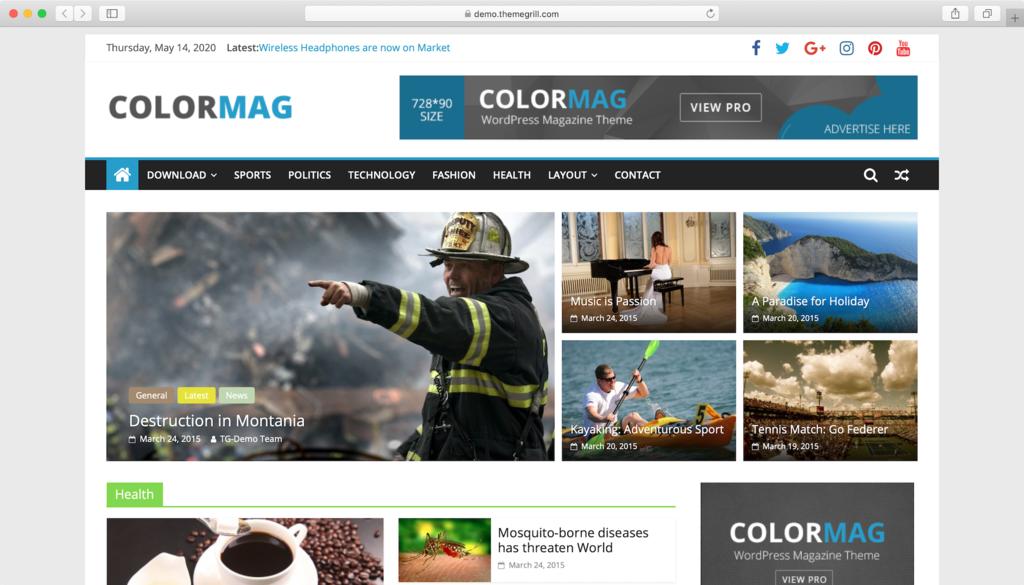 Thème WordPress ColorMag.