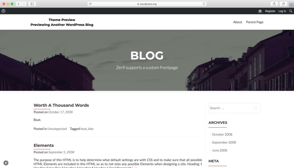 Thème WordPress Zerif Lite.