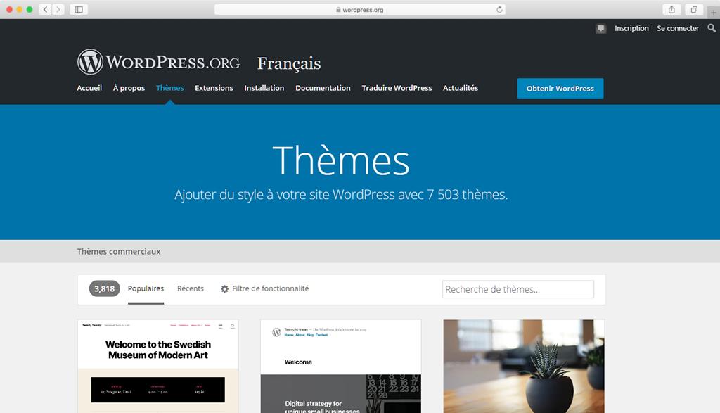 Le répertoire officiel des thèmes WordPress.