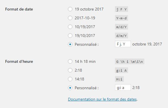 date wordpress