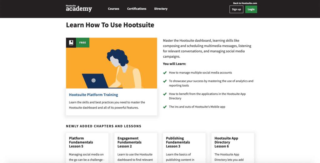 Un exemple de cours de Hootsuite Academy.
