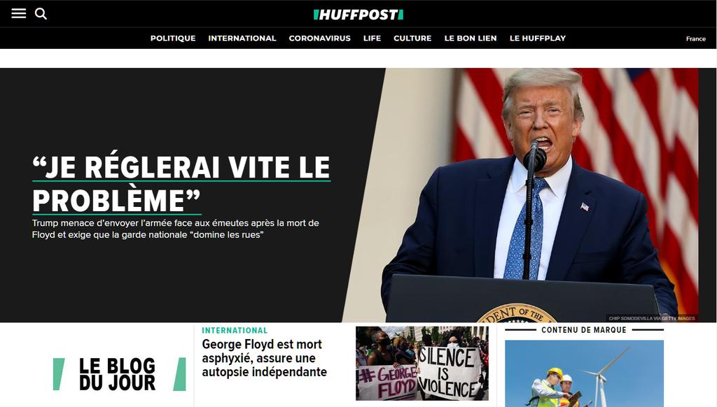 La page d'accueil de Huffington post