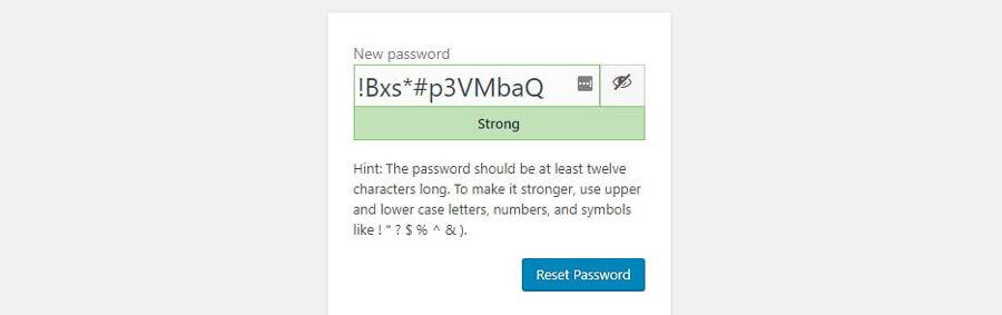 option nouveau mot de passe