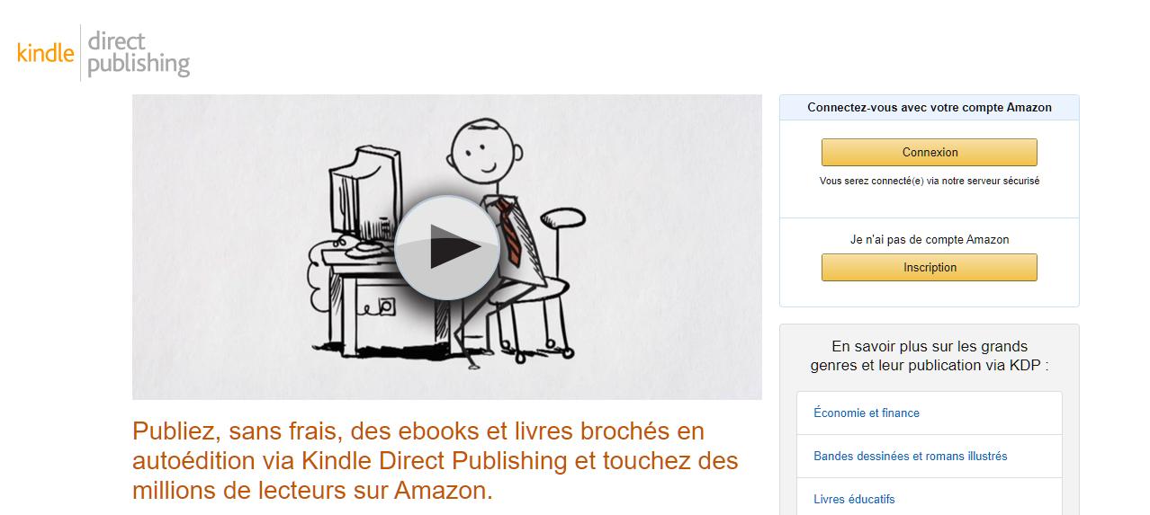 Site de Amazon Kindle Direct Publishing.
