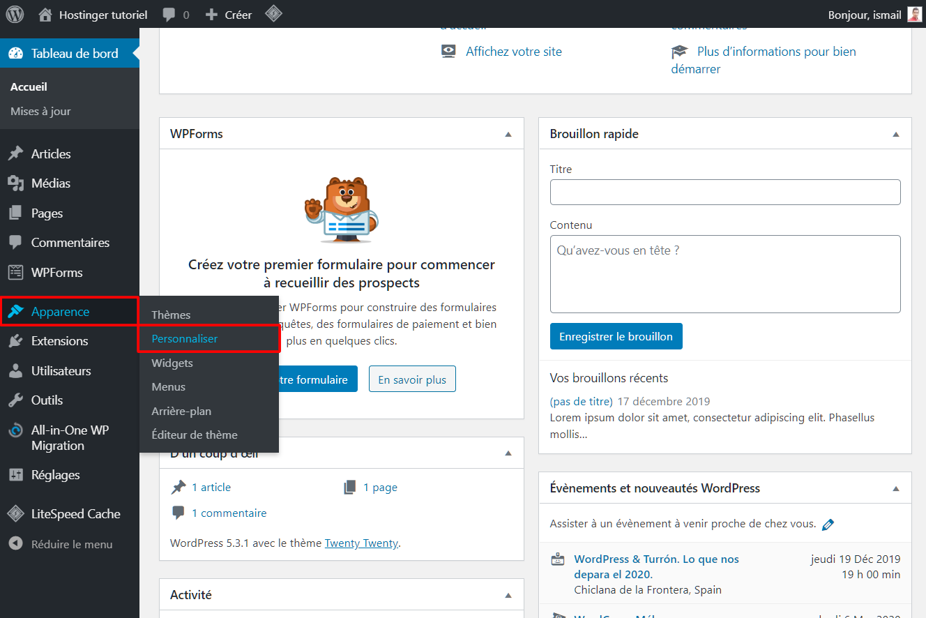 Choisir le menu personnaliser dans WordPress