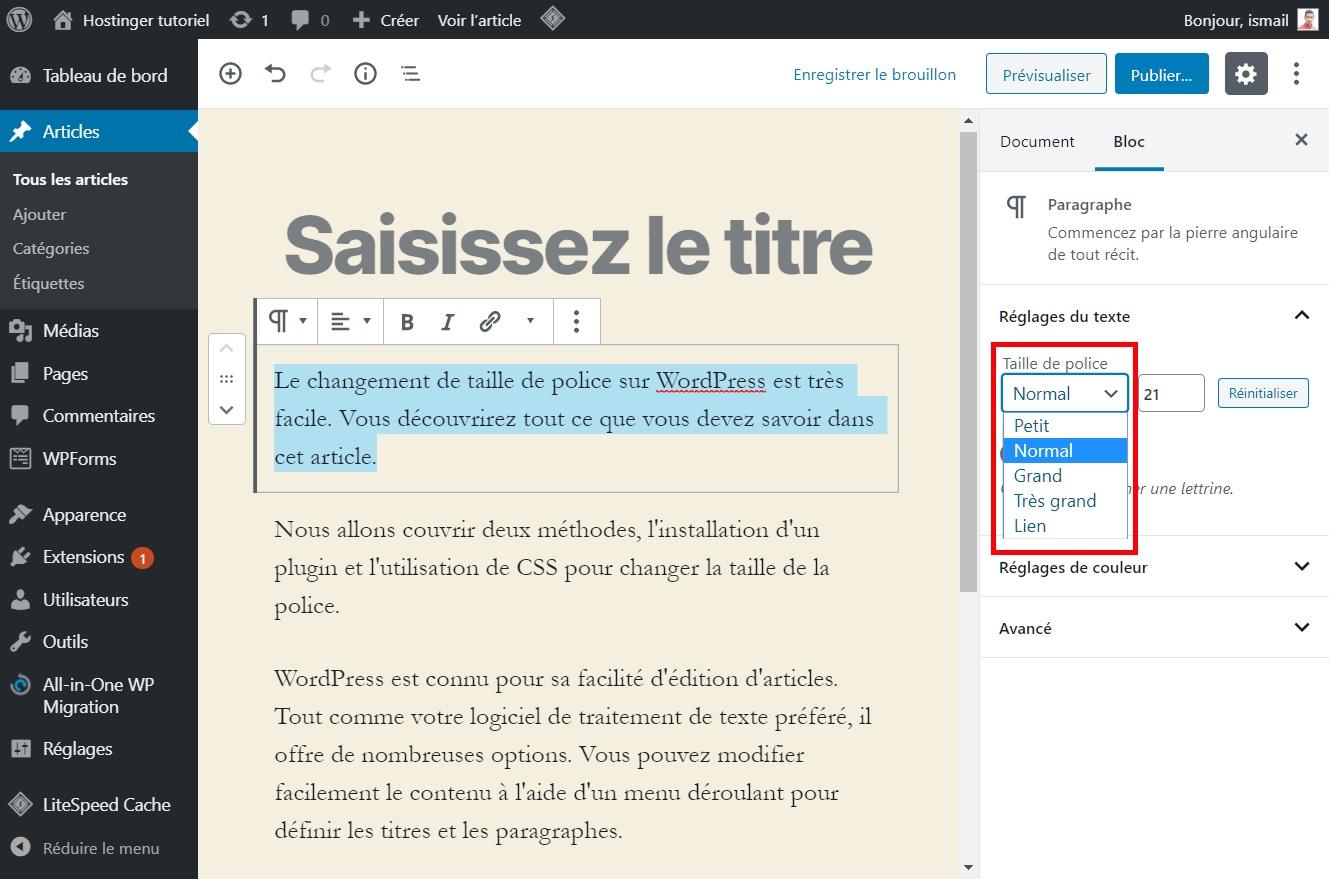 Comment changer la taille de police dans WordPress en utilisant les options par défaut