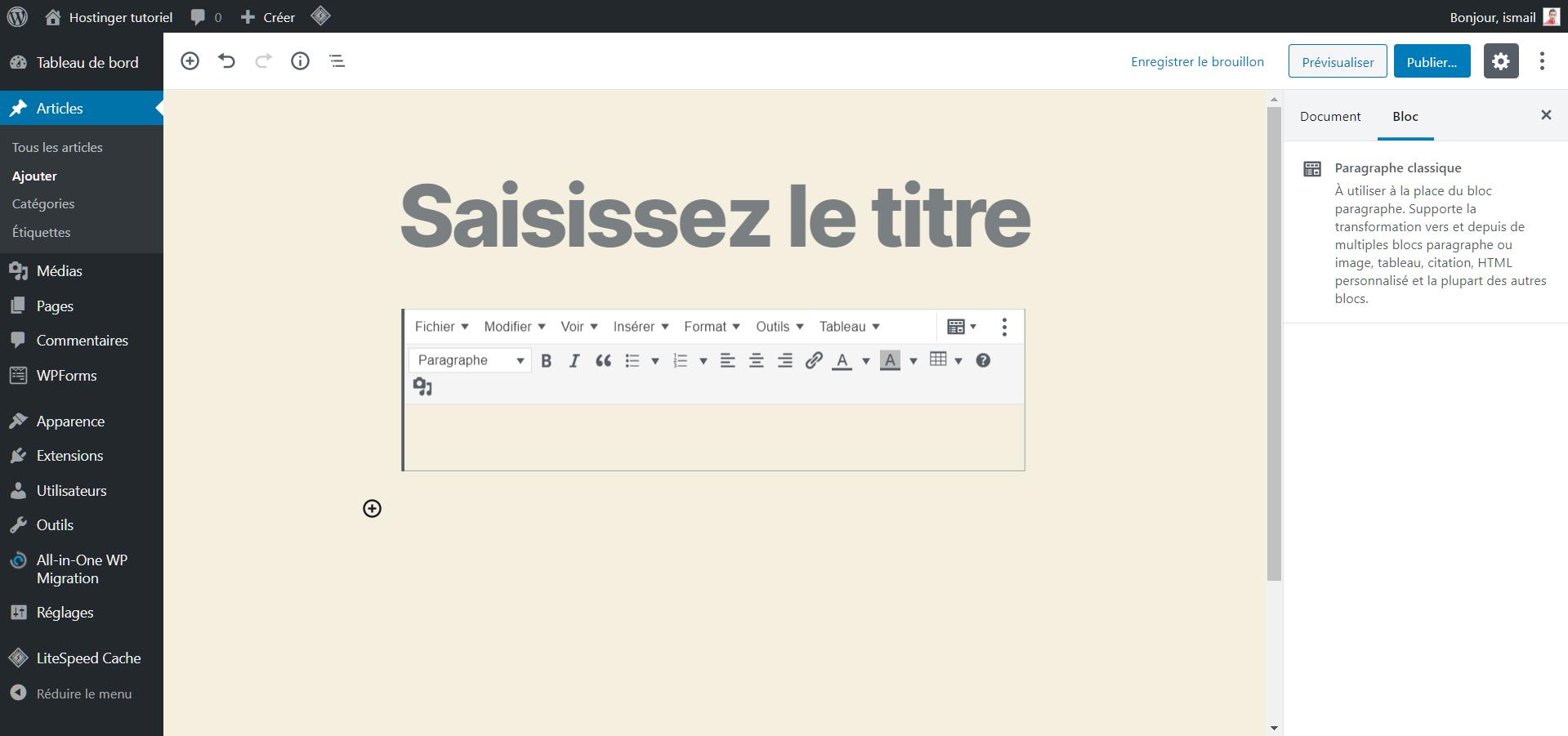 Créer un nouveau article dans WordPress avec le plugin Tinymce Advanced installé