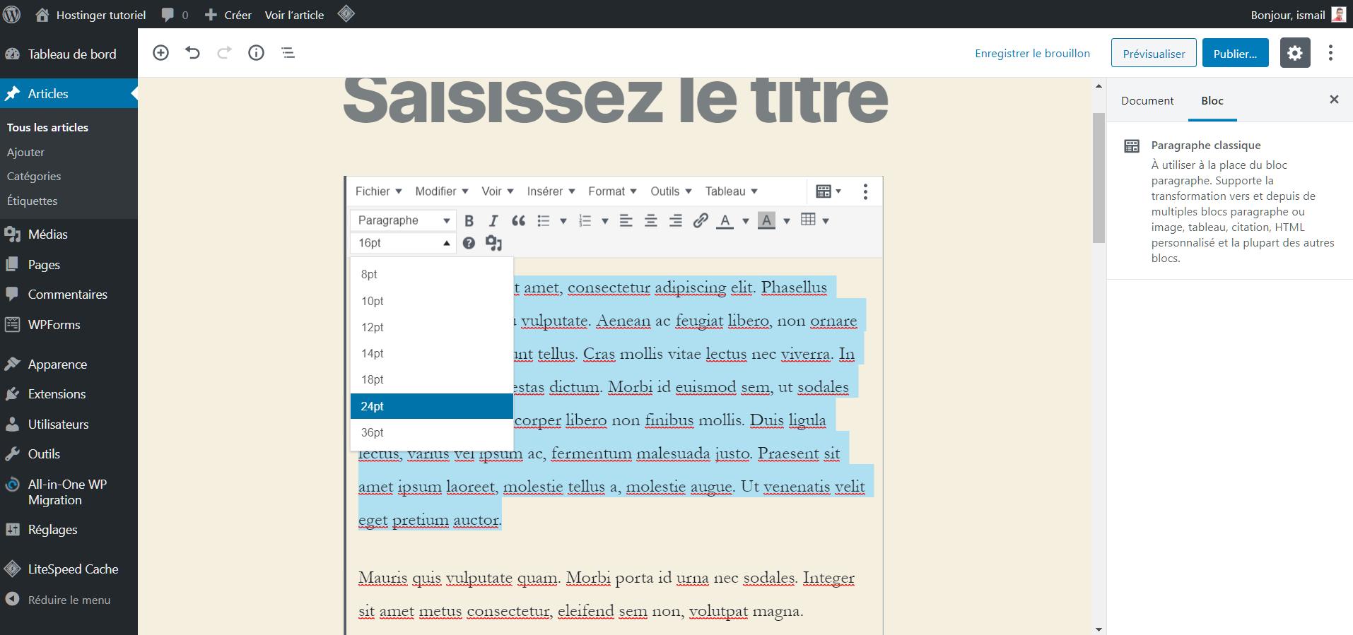 Sélectionner les lignes de texte avant de modifier la taille des caractères
