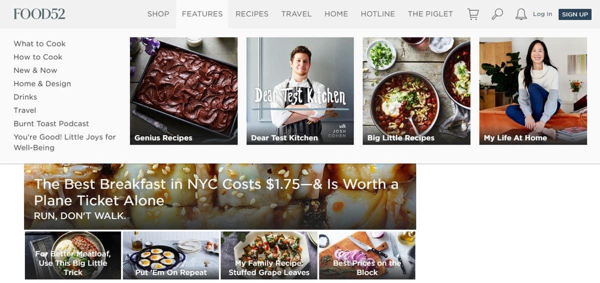 Exemple de blog de recettes