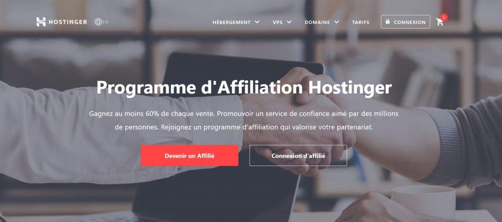 Programmes marketing affiliation Hostinger