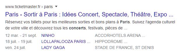 Page du calendrier des concerts à Paris avec balisage du schéma des événements