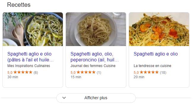 Page de recette de l'olio d'Aglio alimentée par le balisage du schéma des recettes