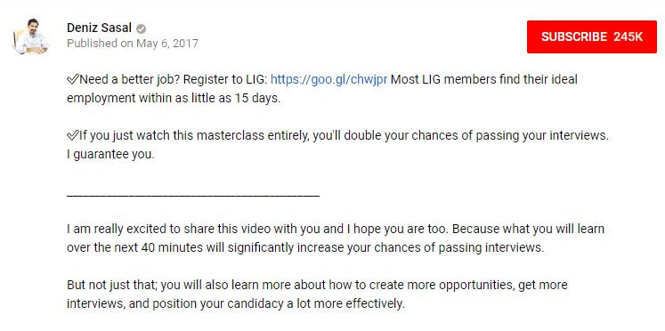 Case de description de Youtube