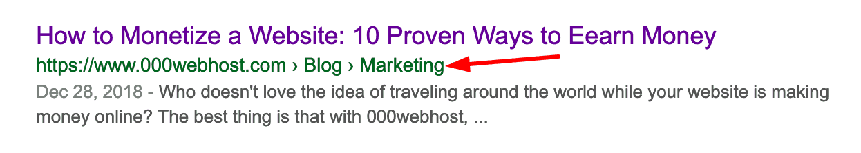 Exemple de fil d'Ariane WordPress dans la recherche Google