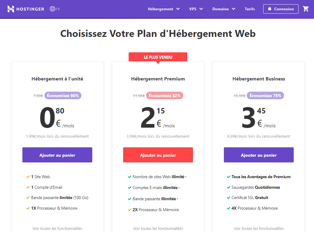 Babelweb propose une large gamme de plans d'hébergement web