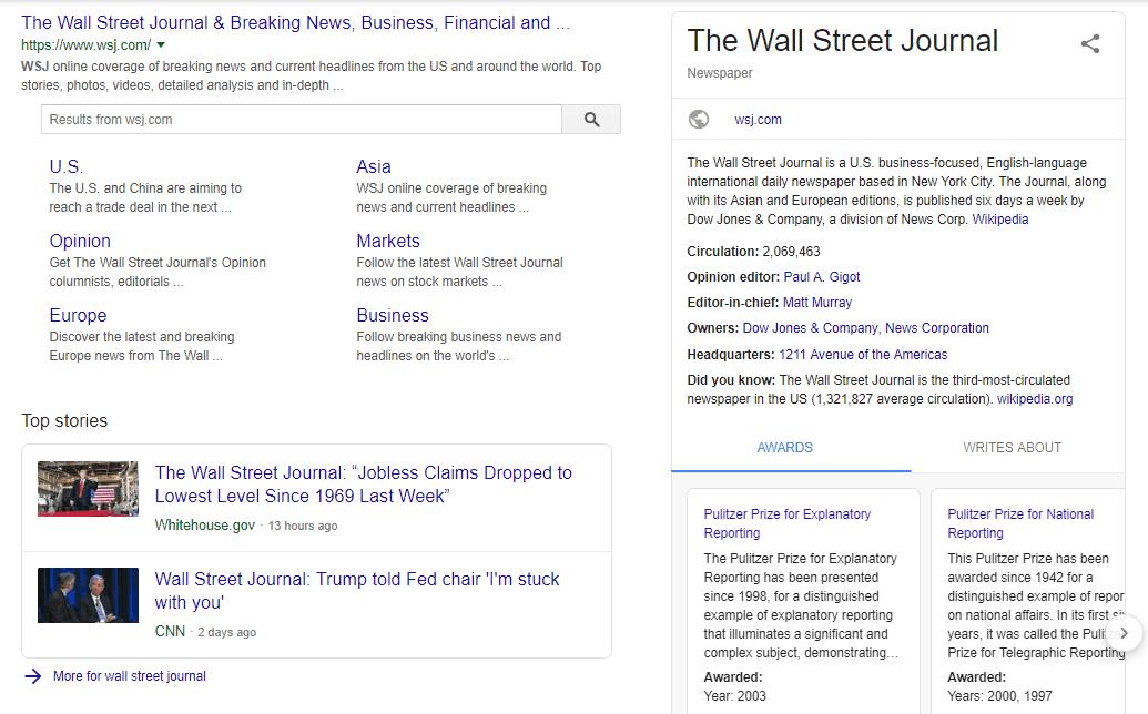 La page du Wall Street Journal alimentée par le balisage du schéma des articles figurant dans le SERP