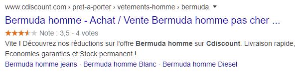 Offre Bermuda homme sur page Cdiscount alimentée avec des données sur les produits