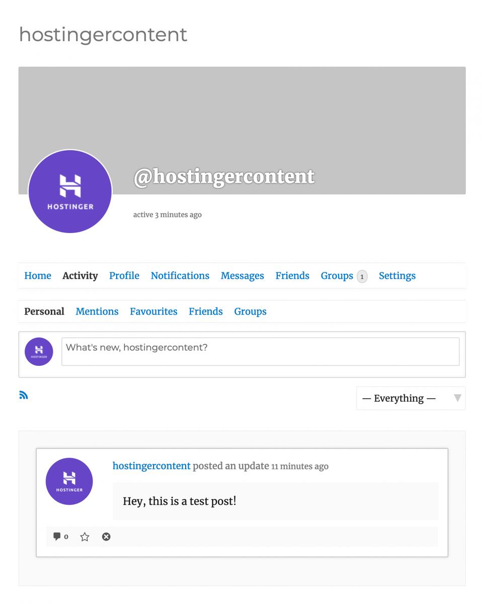 Test sur la page d'activité de BuddyPress