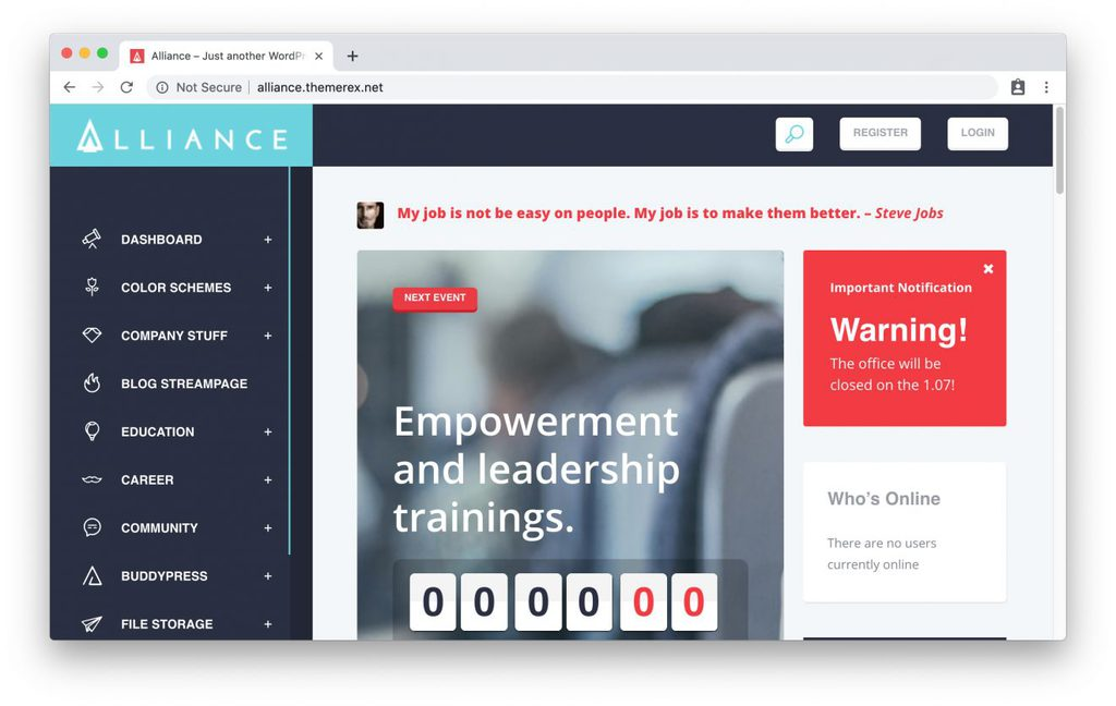 Thème Alliance pour intranet WordPress