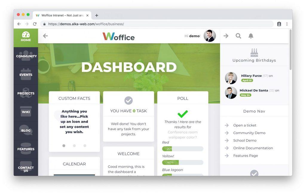 Thème Woffice pour intranet WordPress
