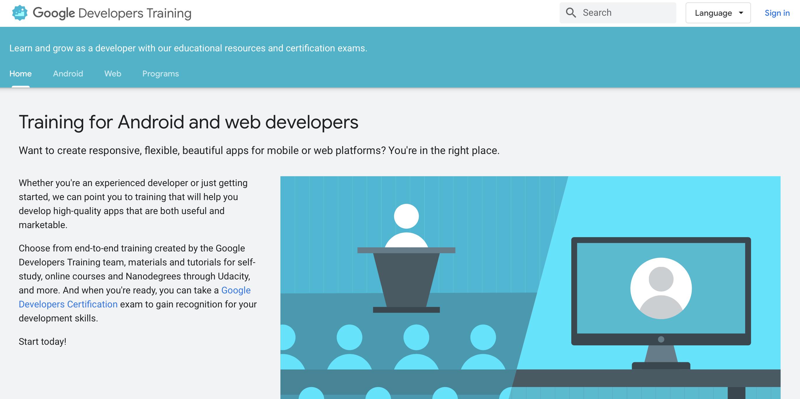 Google Developers Training - programmes de codage en ligne gratuits