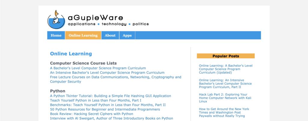 Liste des cours d'informatique en ligne de aGupieWare pour apprendre à coder