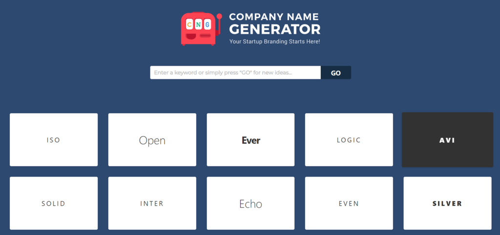 Page d'accueil du Company Name Generator