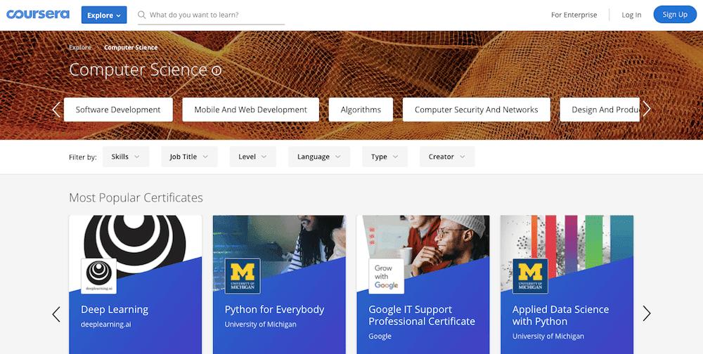 Apprendre à coder en ligne gratuitement avec Coursera