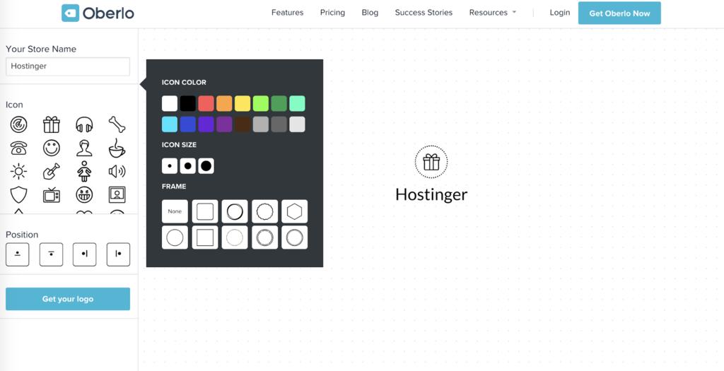 Création d'un logo avec le générateur de logo Oberlo