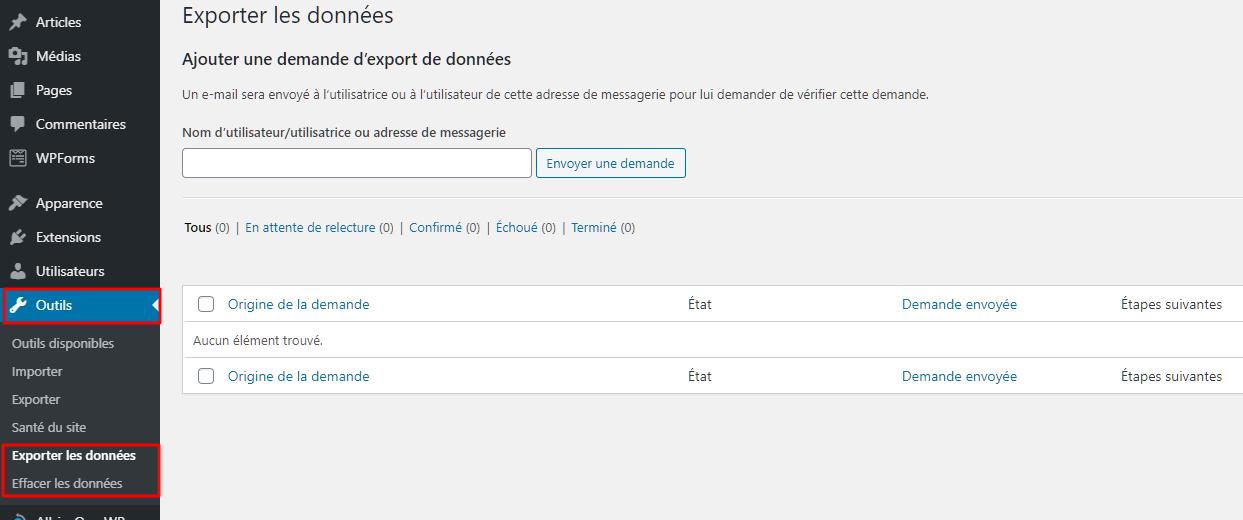 Exportation et effacement des données utilisateur dans la zone d'administration WordPress