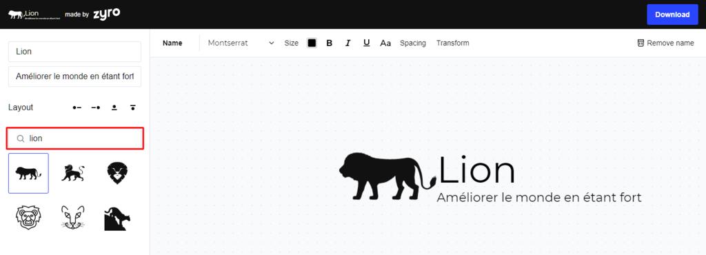 """Utiliser le mot-clé """"lion"""" pour trouver les images disponibles dans le générateur de logo Zyro"""