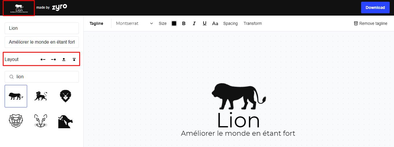 Jouer avec les différentes options de présentation en utilisant le générateur de logo Zyro