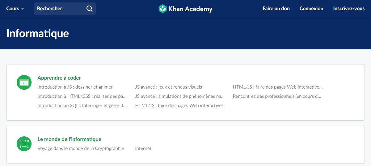 Page de cours en informatique et programmation sur le site de Khan Academy