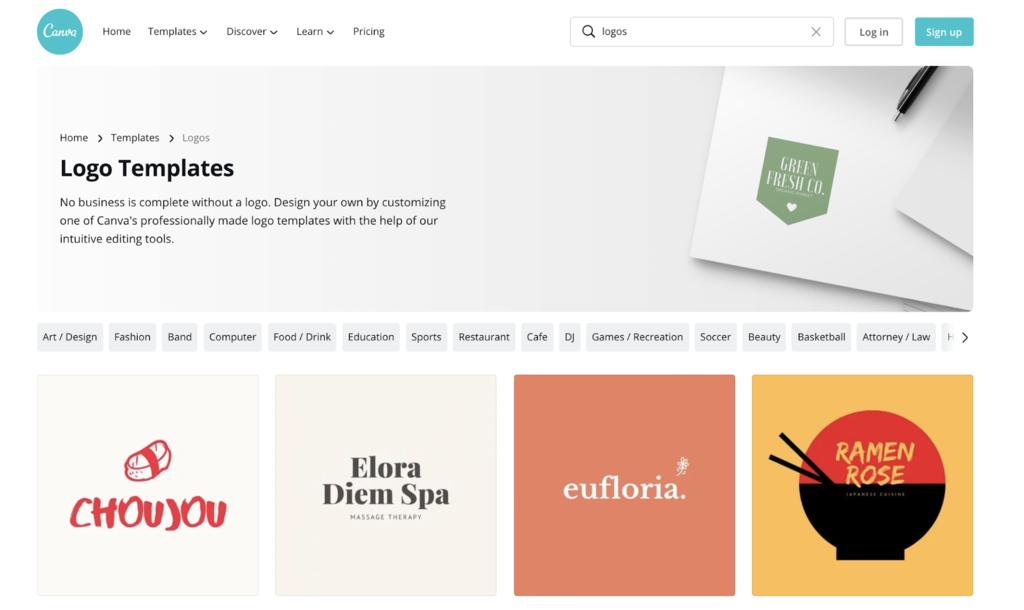 Page des modèles de logo de Canva