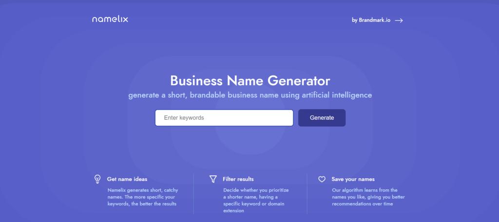 Générateur de nom d'entreprise Namelix