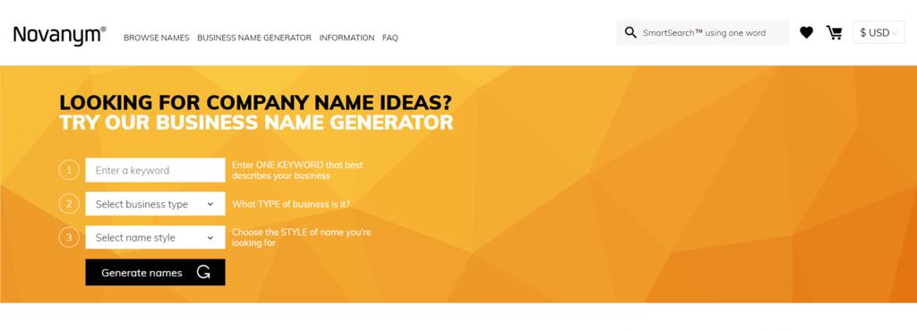 Générateur de noms de marque Novanym