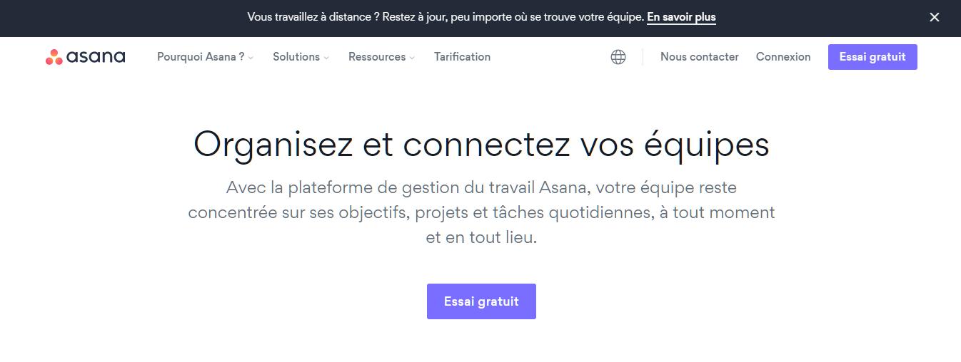 Page d'accueil d'Asana