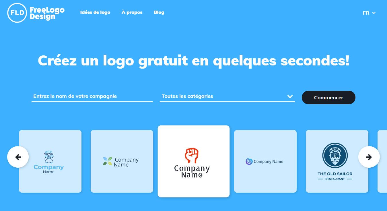 La page d'accueil de FreeLogoDesign