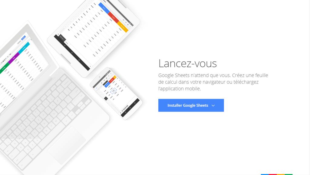 Page d'accueil de Google Sheets