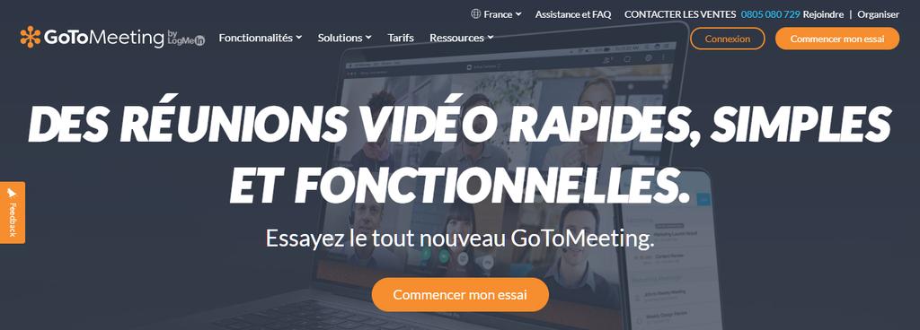 Page d'accueil de GoToMeeting