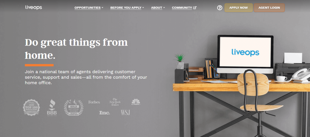 Page d'accueil de Liveops pour un emploi à domicile